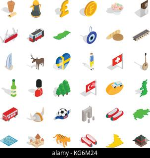 Bread icons set, isometric style - Stock Photo