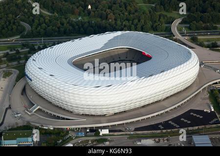 aerial view of Allianz Arena football stadium, Munich, Bavaria, Germany - Stock Photo