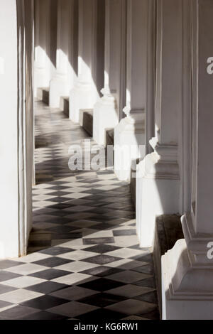 sunlight shines through a balcony house on the tile floor. abstract and art picture. - Stock Photo