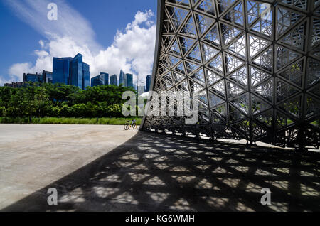 Singapore CBD area as seen from The Future Us Exhibition Pavilion. The pavilion are made of aluminum and not had - Stock Photo