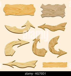 Set of wooden signs and arrows. Vector illustration. - Stock Photo