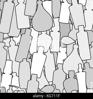 Seamless vector pattern with doodles-style bottles illustratoin. - Stock Photo