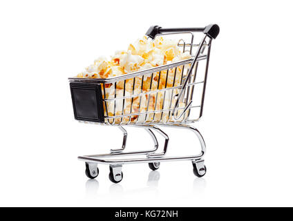 Popcorn salty sweet snack in shopping carton white background