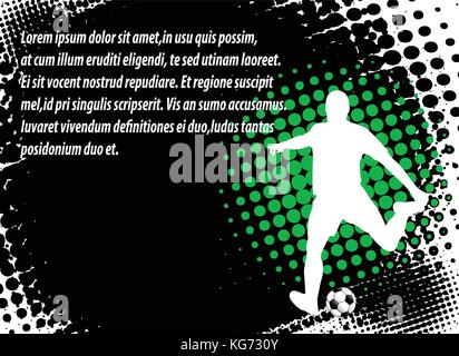 soccer player on the abstract halftone background - vector - Stock Photo