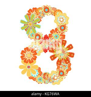 number eight of hand drawn flowers. Floral numerals. Vector illustration, isolated on white - Stock Photo