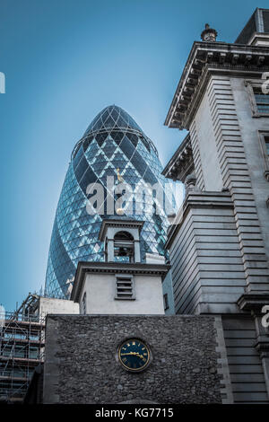 The Gherkin skyscraper, 30 St Mary Axe, City of London, UK - Stock Photo