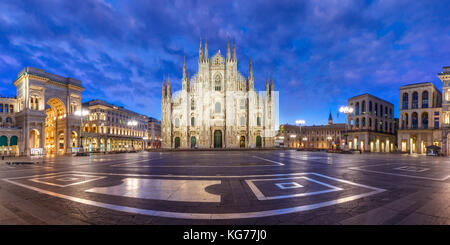 Panorama of night Piazza del Duomo in Milan, Italy - Stock Photo