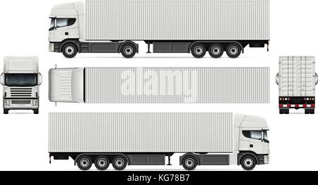 Vector truck with container template for advertising, corporate identity. White semi-trailer truck illustration. - Stock Photo