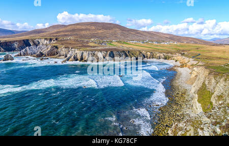 beautiful rural irish country nature landscape from the north west of ireland. scenic achill island along the wild - Stock Photo