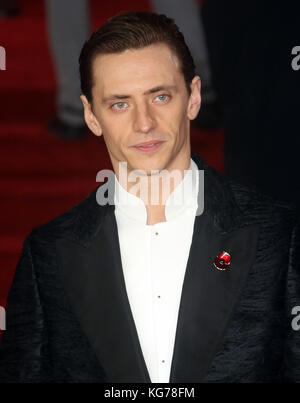 London, UK. 2nd November, 2017. Sergei Polunin the Murder on the Orient Express film premiere - Stock Photo