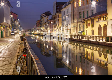 Naviglio Grande canal in Milan, Lombardia, Italy - Stock Photo