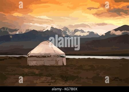 View of Mongolia. Yurts traditional Mongolian dwellings in Mongolian steppe. Mountains on background. Travel sketch. - Stock Photo