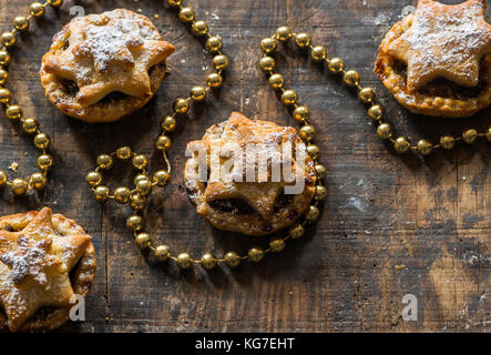 Traditional homemade mince pies. Christmas baking - Stock Photo