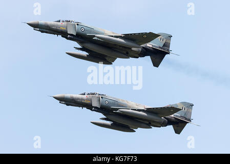 The McDonnell Douglas F-4 Phantom II fighter jet of the Hellenic Air Force at the Florennes Air Base in Belgium. - Stock Photo