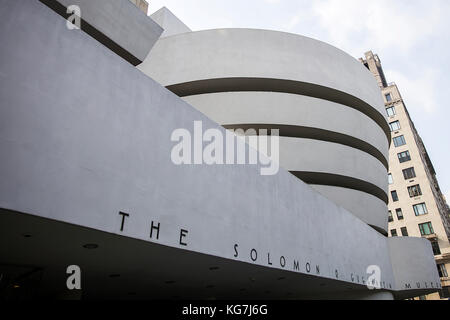 NEW YORK, USA - AUGUST 22, 2017: Detail of the Guggenheim Museum in New York. Museum was designed by Frank Lloyd - Stock Photo