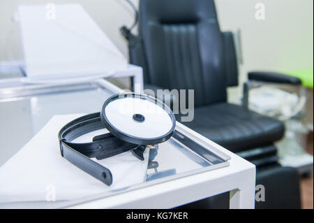 Close up Medical equipment of otolaryngologist. Medical and Healthcare concept. Selective focus. Copy space. - Stock Photo