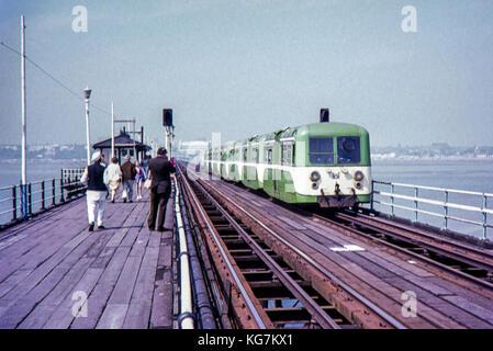 Southend Pier Tram/Train image taken in 1973 - Stock Photo