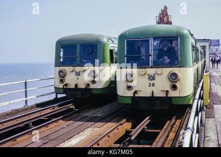 Southend Pier Tram/Trains image taken in 1973 - Stock Photo