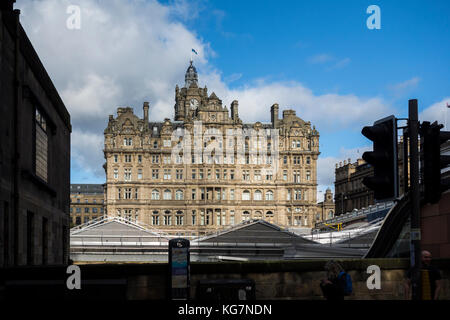 View of The Balmoral Hotel from Market Street over Waverley Railway Station, Edinburgh, Scotland, UK - Stock Photo