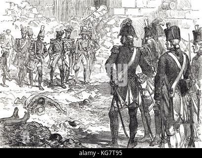 Surrender of Pondicherry, India, 15 January 1761, Siege of Pondicherry 1760-1761 - Stock Photo