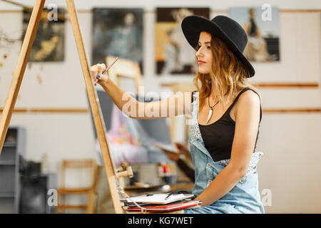 Artist's Drawing Process in the Studio - Stock Photo