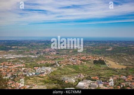 The hills of San Marino.Republic of San Marino.View of the hills from San Marino and in the distance the Adriatic - Stock Photo