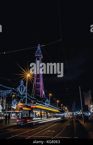 Blackpool Tower and promenade during the Blackpool Illuminations - Stock Photo