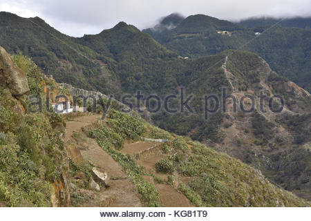Rural house in Anaga mountains near Chinamada north of Tenerife Canary Islands Spain. Trade winds from Atlantic - Stock Photo
