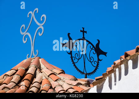 Colourful Tiled Roof Detail with Contemporary, Christian Symbols, at the Stella Maris Church. Porto Cervo, Costa - Stock Photo