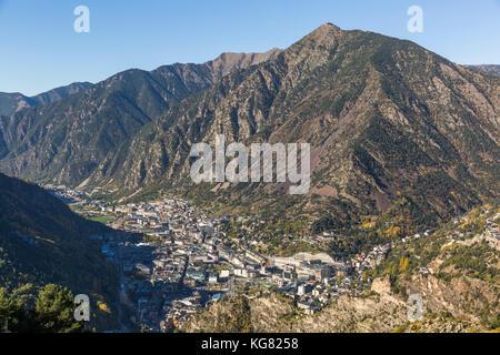 Aerial view of Andorra la Vella the capital of the Principality of Andorra - Stock Photo