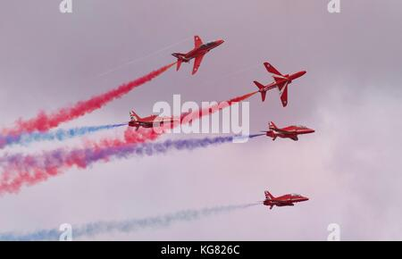 The Red Arrows Aerobatic Team performing at the 2017 Royal International Air Tattoo - Stock Photo