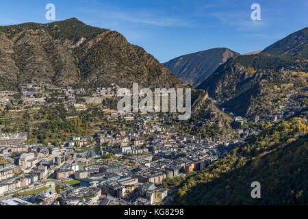 ANDORRA LA VELLA, ANDORRA - OCTOBER 28, 2017: Aerial view of Andorra la Vella, the capital of the Principality of - Stock Photo