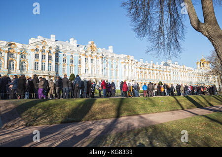 SAINT-PETERSBURG, RUSSIA - NOVEMBER 02, 2017: Crowd of people stand in line at the Museum of Catherine Palace in - Stock Photo