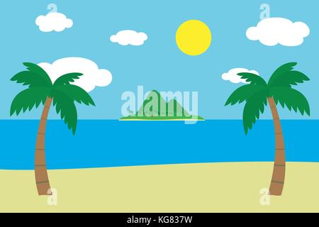 View of a tropical sandy beach with two green palm trees on the sea shore with an island with hills and mountains - Stock Photo