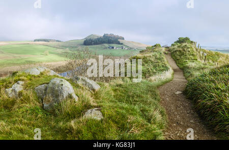 View from Peel Crags and Crag lough along Hadrian's Wall footpath on an autumn morning near Hexham, Northumberland, - Stock Photo