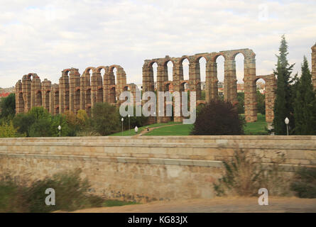 Blurred motion shot from speeding train of Roman aqueduct, Acueducto de Los Milagros, Merida, Extremadura, Spain - Stock Photo
