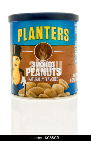 Winneconne, WI - 31 October 2017:  A container of planters smoked peanuts on an isolated background. - Stock Photo