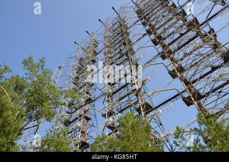 The abandoned Duga Radar, a soviet anti-ballistic system in the Chernobyl region, Ukraine. - Stock Photo