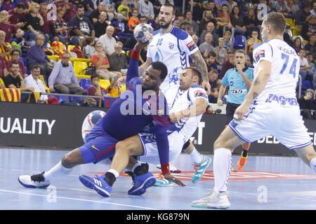 4th October  2017, Palau Blaugrana, Barcelona, Spain; EHF Mens Champions League Group Phase, handball. FC Barcelona - Stock Photo