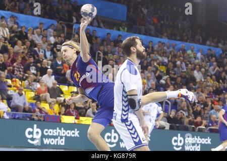 Jure Dolenec,4th October  2017, Palau Blaugrana, Barcelona, Spain; EHF Mens Champions League Group Phase, handball. - Stock Photo