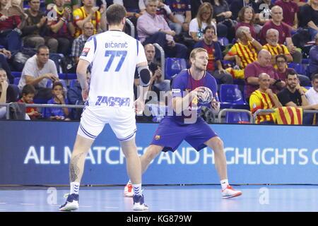Aron Palmarsson, 4th October  2017, Palau Blaugrana, Barcelona, Spain; EHF Mens Champions League Group Phase, handball. - Stock Photo