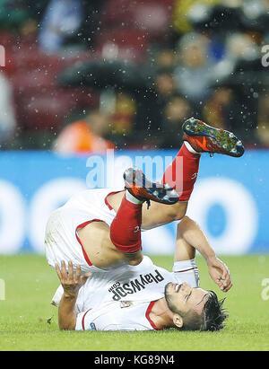 Barcelona, Spain. 04th Nov, 2017. Pablo Sarabia of Sevilla reacts during their Spanish Primera Division soccer match - Stock Photo