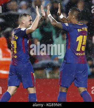 Barcelona, Spain. 04th Nov, 2017. Barcelona FC's Paco Alcacer (L) celebrates with his teammate Paulinho after scoring - Stock Photo