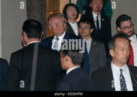 Tokyo, Japan. 5th November, 2017.  US President Donald Trump arrives the Ukai-tei restaurant in Ginza on November - Stock Photo