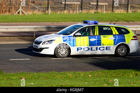 Dundee, Tayside, Scotland, UK. 5th November, 2017. A convoy of Police Scotland cars and vans with sirens blaring - Stock Photo