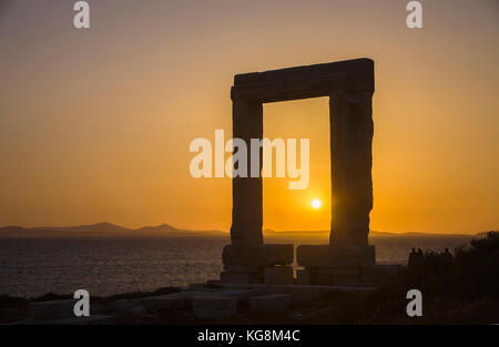 Portara of Naxos at sunset, landmark of Naxos island, Cyclades, Aegean, Greece - Stock Photo