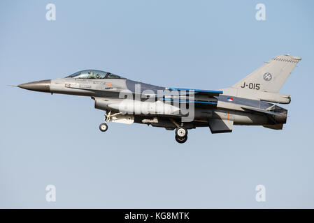 A F-16 fighter jet of the Royal Netherlands Air Force is ready to land at the Kleine Brogel Air Base in Belgium. - Stock Photo