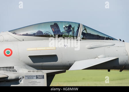 A Eurofighter Typhoon fighter jet of the 4º Stormo squadron of the Italian Air Force. - Stock Photo
