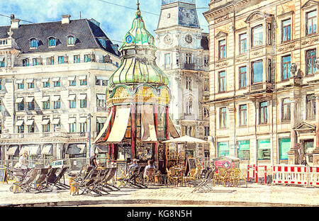 Copenhagen in watercolors: old kiosk and first public telephonic connection from 1913 in Baroque Revival style at - Stock Photo