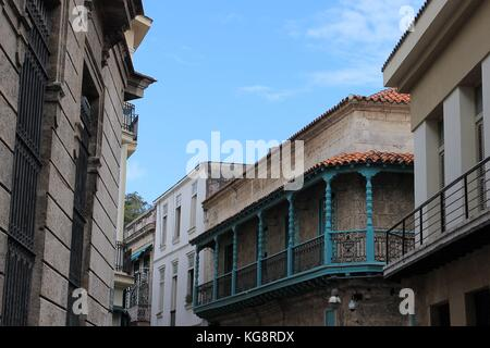Cityscape looking along the tops of old, neo-classical style buildings, Havana, Cuba. - Stock Photo